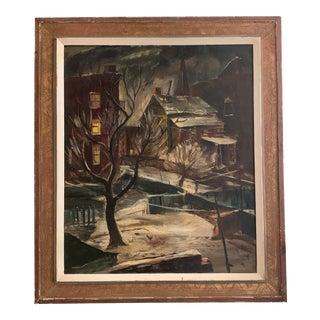 """""""Brooklyn Backyard"""" Aka """"Winter in Brooklyn"""" Painting by Ferdinand Earl Warren C. 1944 For Sale"""