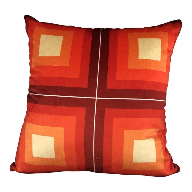 Contemporary Handmade Orange Velvet Geometric Pillow For Sale