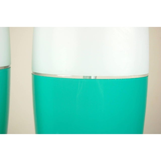 Metal Vintage Murano Glass Capsule Table Lamps in Aqua White For Sale - Image 7 of 10