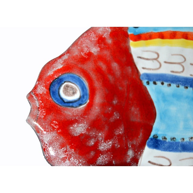 1990s Italian Giovanni Desimone Hand Painted Pottery, Fish Platter, Serving Plate For Sale - Image 5 of 12