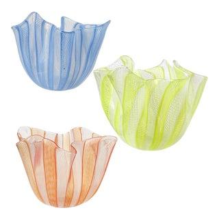 Venini Bianconi Murano Blue Yellow Orange Italian Art Glass Fazzoletto Vases -- Set of 3 For Sale