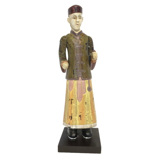 Hand-Carved & Painted Chinoiserie Statue - Image 1 of 6