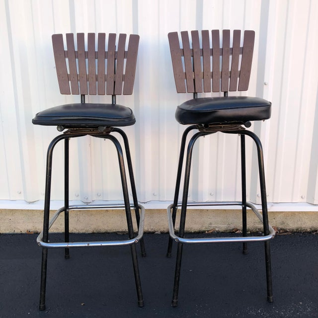 Black Swivel Bar Stools With Faux Wood Seat Backs - A Pair For Sale In New York - Image 6 of 13