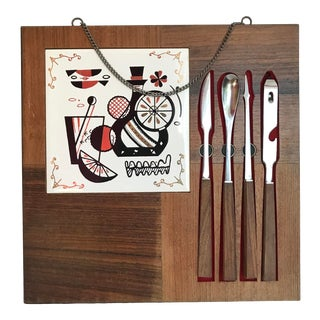 1970s Vintage Bar Tool Set With Tile and Cutting Board - Set of 5 For Sale