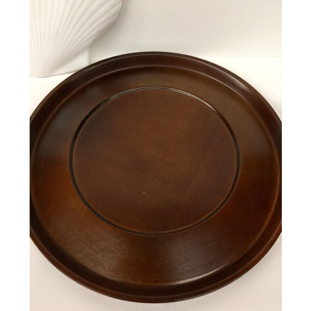 1960s Mid-Century Modern Solid Wood Serving Platter With Clam Shaped Plate - 2 Pieces For Sale In Boston - Image 6 of 10