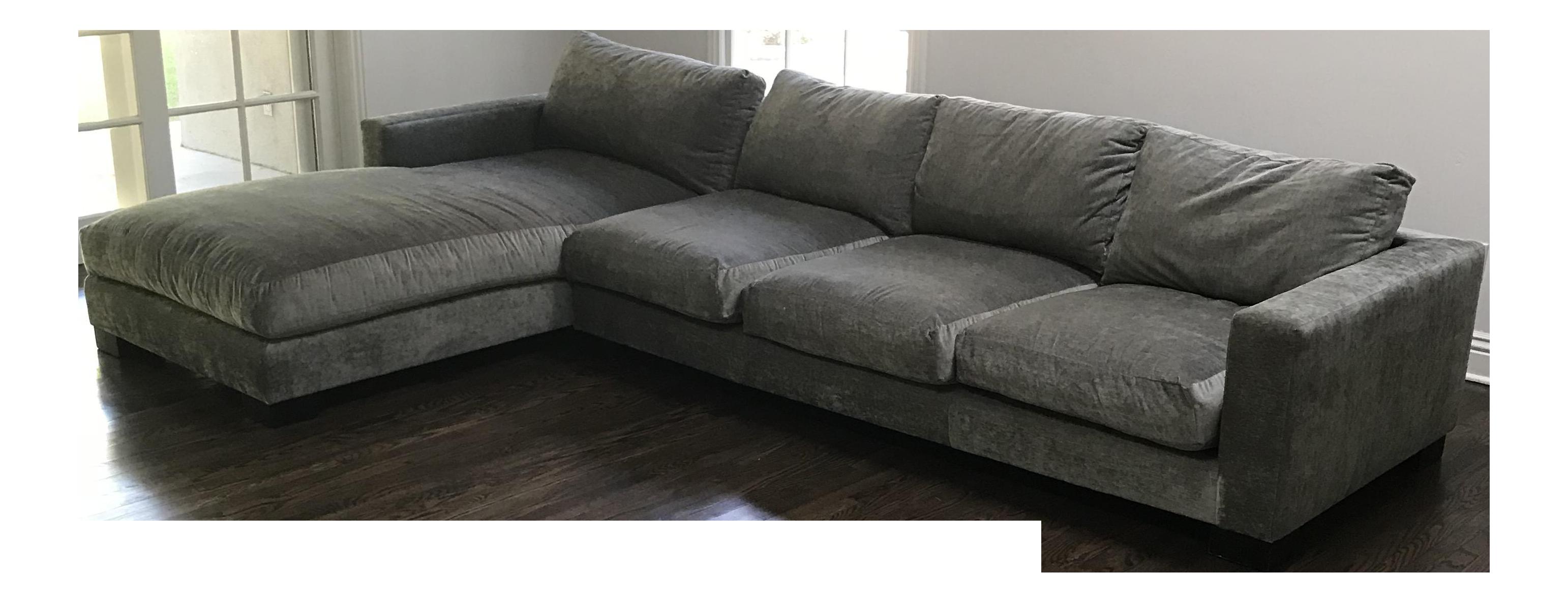 Custom Grey Velvet Sectional Sofa   Image 1 Of 6