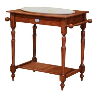 19th Century French Child Pine and Porcelain Washstand From Sarreguemines For Sale