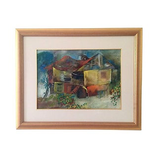 Midcentury Abstract House Watercolor For Sale