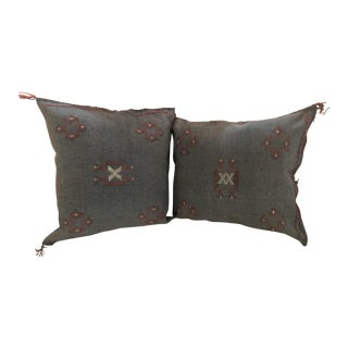 Moroccan Hand-Loomed Wool Light Gray Pillows - a Pair For Sale