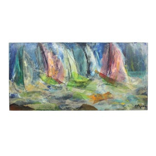 "Abstract Expressionist Oil and Paper Mache Boats on the Harbor Painting - Signed ""Stopke"" For Sale"