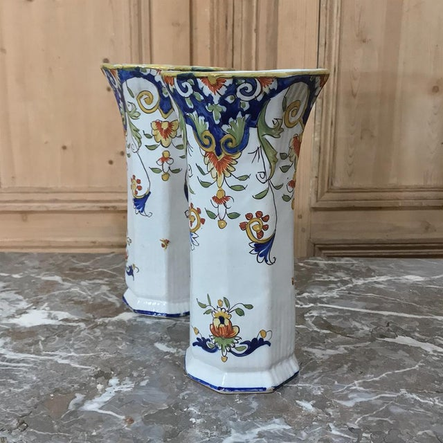 Ceramic Pair 19th Century French Colorful Hand-Painted Faience Vases From Normandy For Sale - Image 7 of 12