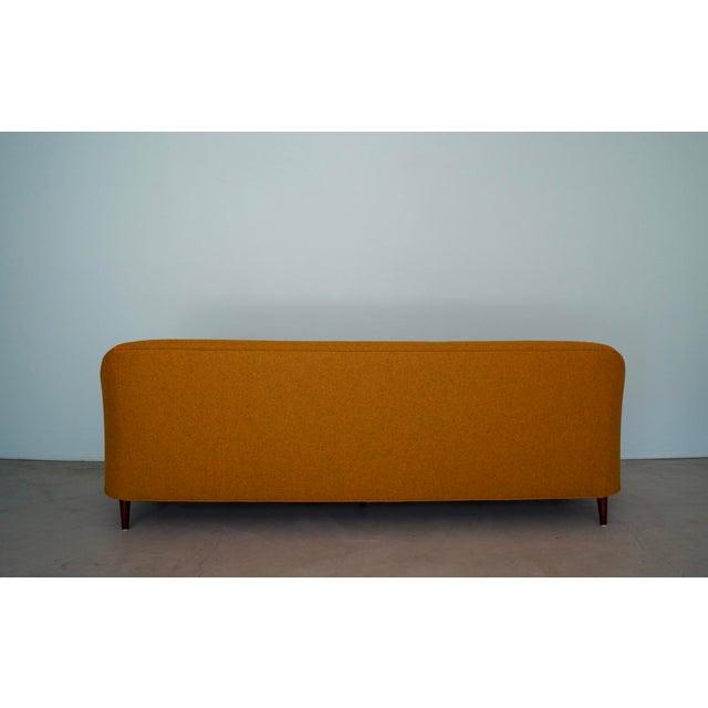 Wood Mid-Century Modern Sofa Reupholstered in Orange Wool For Sale - Image 7 of 13