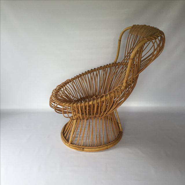 Boho Chic Franco Albini Style Vintage Rattan Margarita Chair For Sale - Image 3 of 7