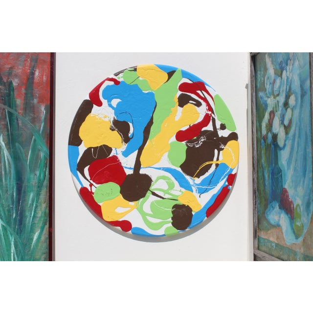 Paint Abstract Modern Round Thick Pallet Art For Sale - Image 7 of 8