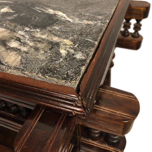 Exceptional Antique Eastlake Victorian Granite Top Carved Side End Hall Table For Sale - Image 9 of 10