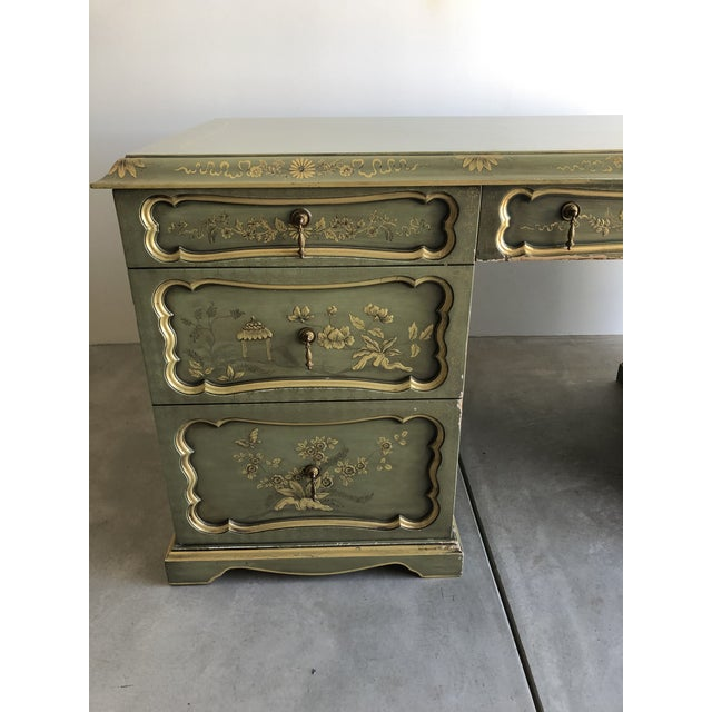 Chinoiserie Chinoiserie Green Wooden Partner Desk For Sale - Image 3 of 13