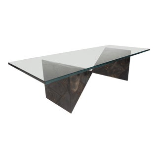 Stunning Glass Top Brutalist Coffee Table by Paul Evans for Directional For Sale