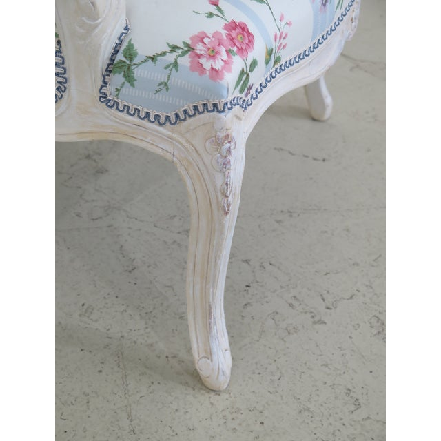 White French Inspired Scalamandre Upholstered Armchairs - A Pair For Sale - Image 8 of 13