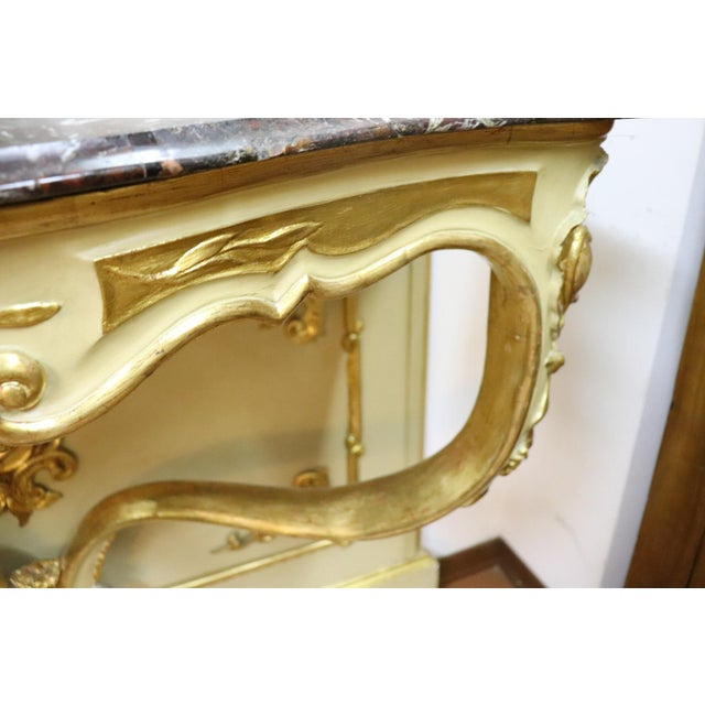 19th Century Italian Golden and Lacquered Wood Console Table With Marble Top For Sale - Image 4 of 11
