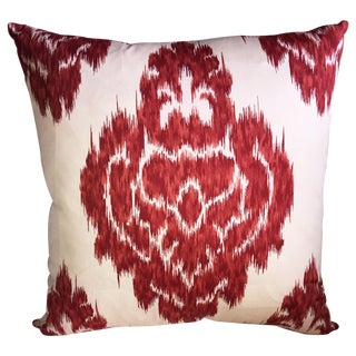 Red Ikat Accent Pillow Cover For Sale