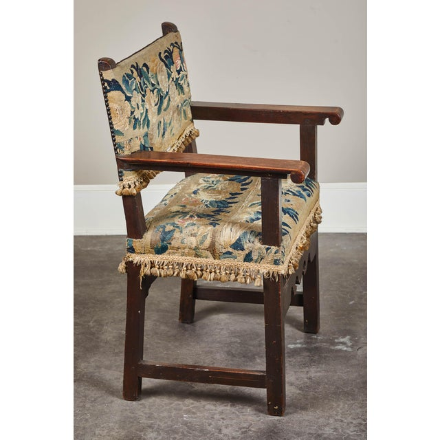 Mediterranean 19th C. Spanish Walnut Chair With Embroidered Upholstery For Sale - Image 3 of 9