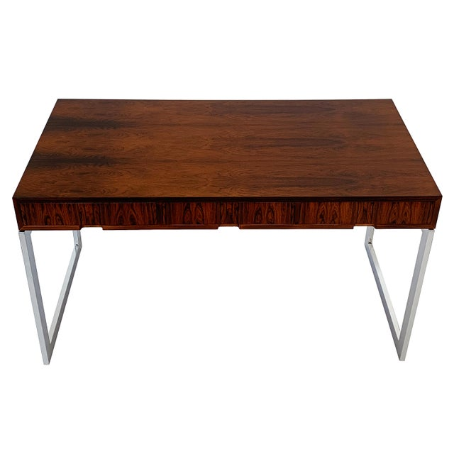 Milo Baughman Rosewood and Chrome Desk For Sale - Image 13 of 13