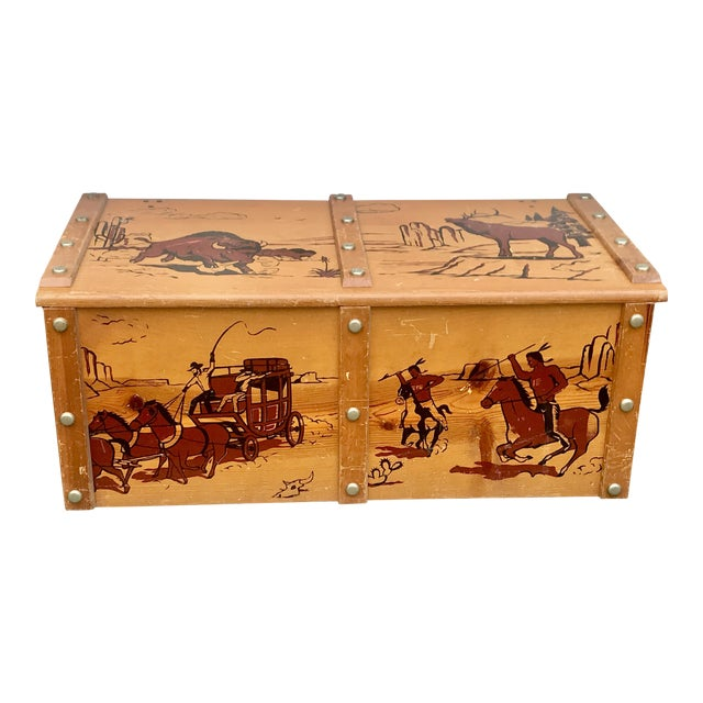 1950s Vintage Cowboys and Indians Wooden Toy Chest For Sale