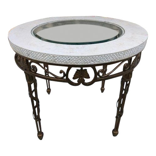 Traditional Drexel Heritage Marble, Metal, and Glass Lamp Table For Sale