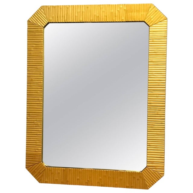 Bamboo Modern Mirror With Brass Finnish For Sale