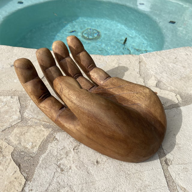 Vintage 1960s oversized solid wood human hand carved sculpture. This is a larger one than I've seen with thick wood...