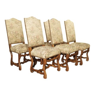 A Set of 6 French Os De Mouton Side Chairs in Carved Beech For Sale