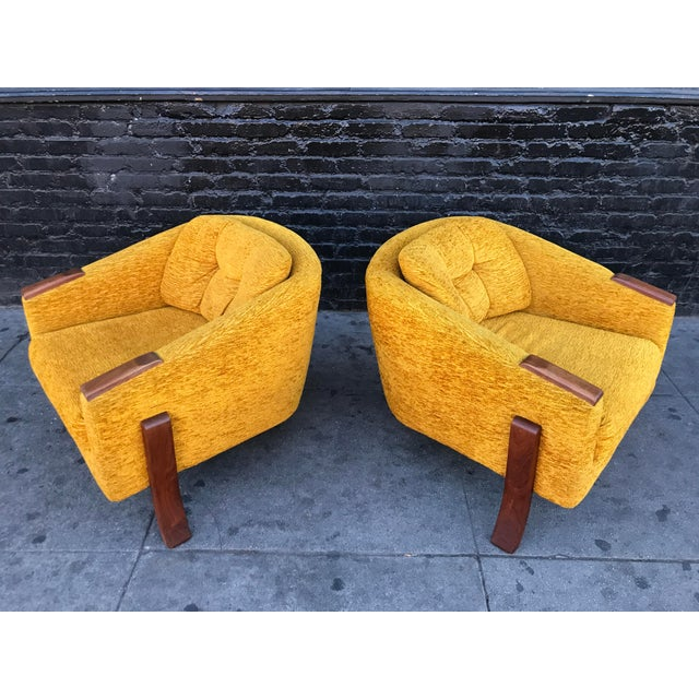 Yellow Mid Century Lounge Chairs by Chelmode Furniture - A Pair For Sale - Image 8 of 13