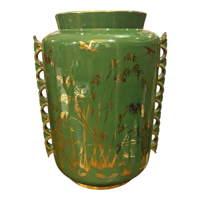 1960s Italian Mid-Century Modern Green and Gold Ceramic Vase For Sale