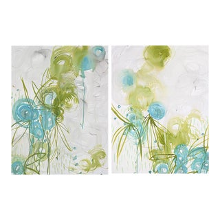 "Alex K. Mason ""Blue Blossoms Diptych"" Paintings For Sale"