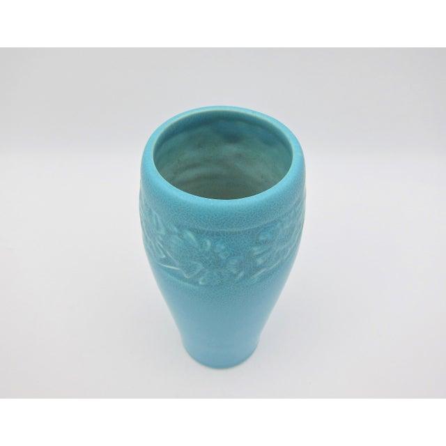 1930 Vintage Rookwood Pottery Arts & Crafts Blue Sunflower Vase For Sale - Image 9 of 12