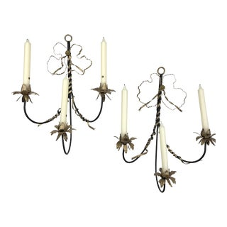 Black & Gold Tole Ribbon Sconces - A Pair