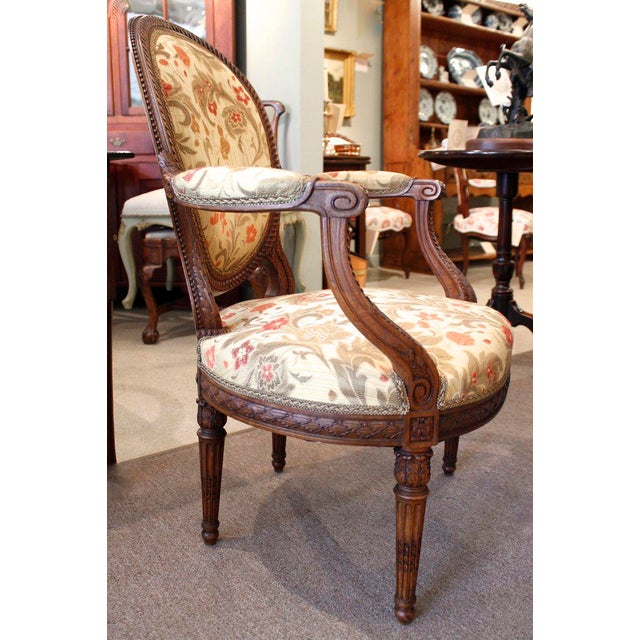 Louis XVI Style Neoclassical Carved Armchairs - a Pair For Sale - Image 6 of 10
