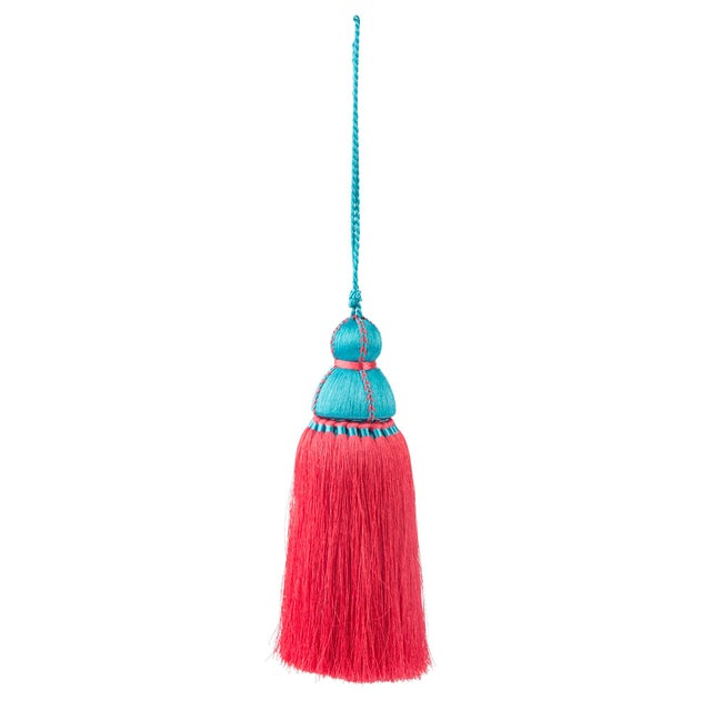 Traditional Turquoise & Pink Tassel, Large For Sale - Image 3 of 3