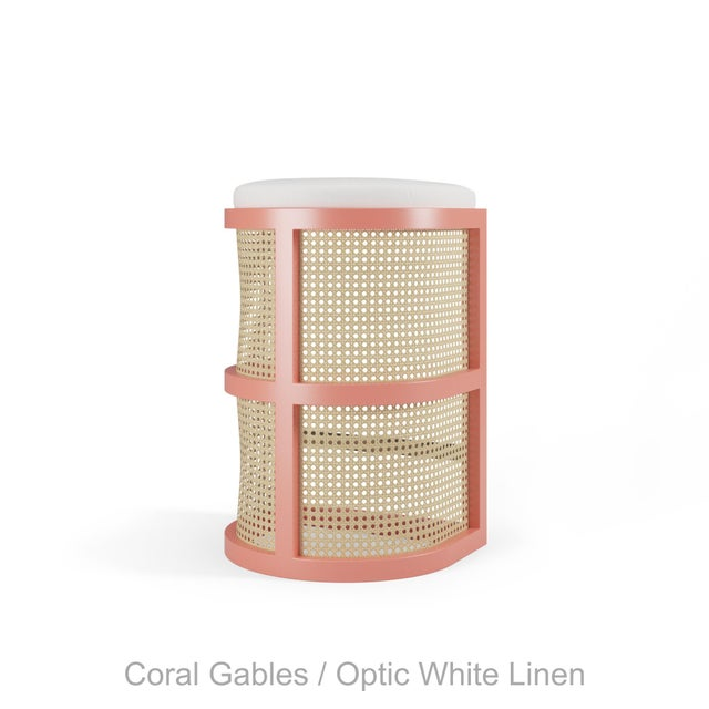 Not Yet Made - Made To Order Isabella Bar Stool - Coral Gables, Optic White Linen For Sale - Image 5 of 5