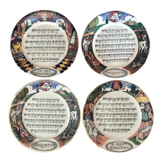 Fayenceries De Sarreguemines Chansons Et Rondes De France Plates, Set of 4 For Sale