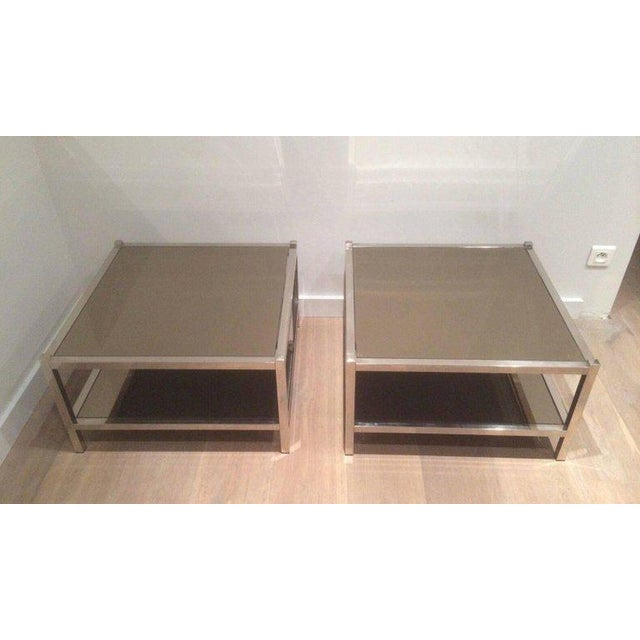 Pair of Large Chrome Side Tables with Bronzed Mirrors - Image 3 of 11