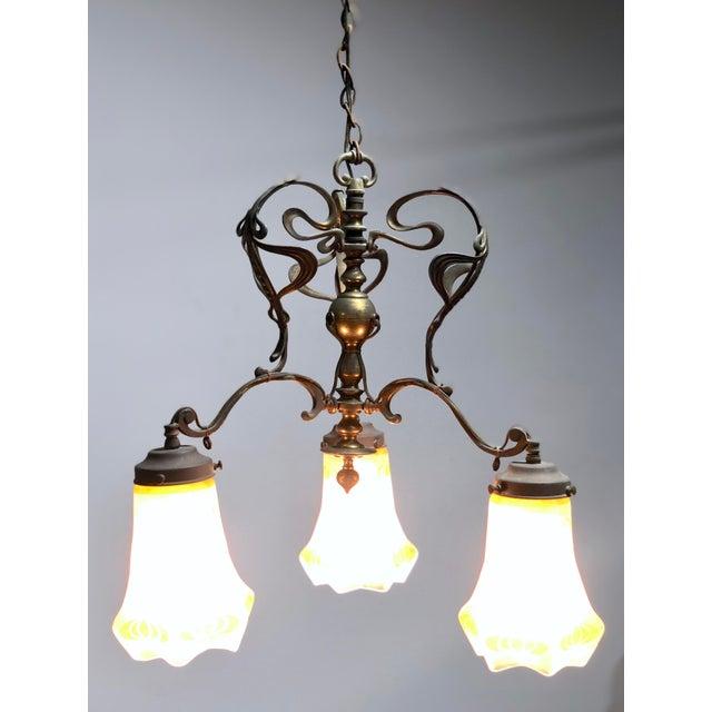 Art Nouveau Antique Art Nouveau Brass 3-Shade Chandelier For Sale - Image 3 of 13