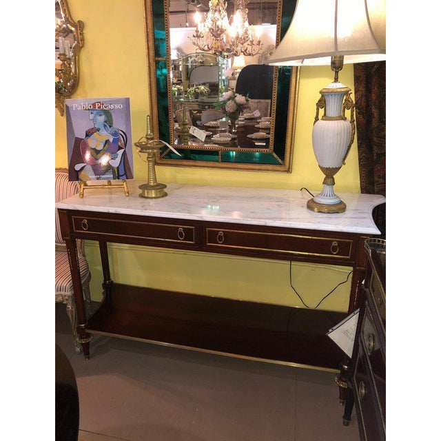 Neoclassical Pair Marble Top Russian Neoclassical Consoles W Concave Sides & Bronze Mounts For Sale - Image 3 of 12