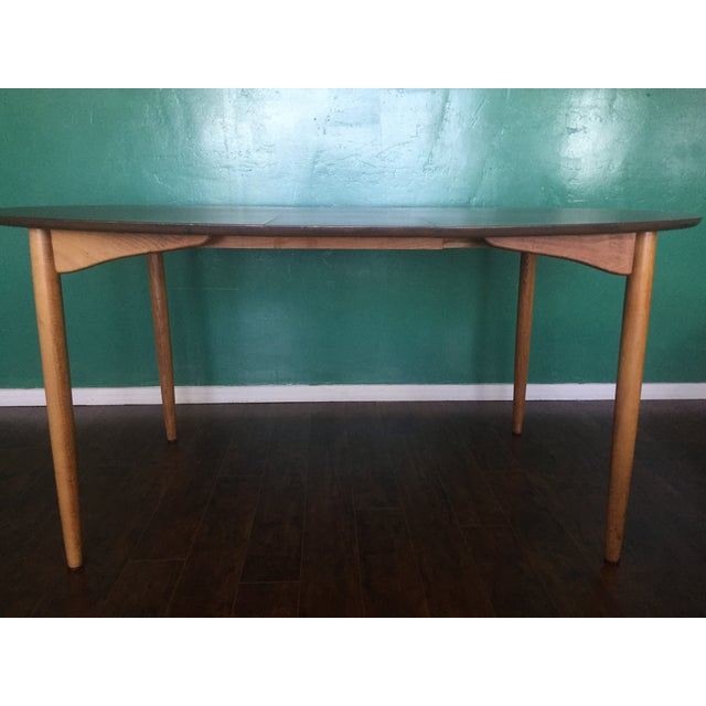 Mid Century Modern Oval Table With Leaf - Image 8 of 11