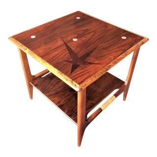 1958 Mid-Century Modern Atavista Lane Walnut and Rosewood Constellation Side Table For Sale
