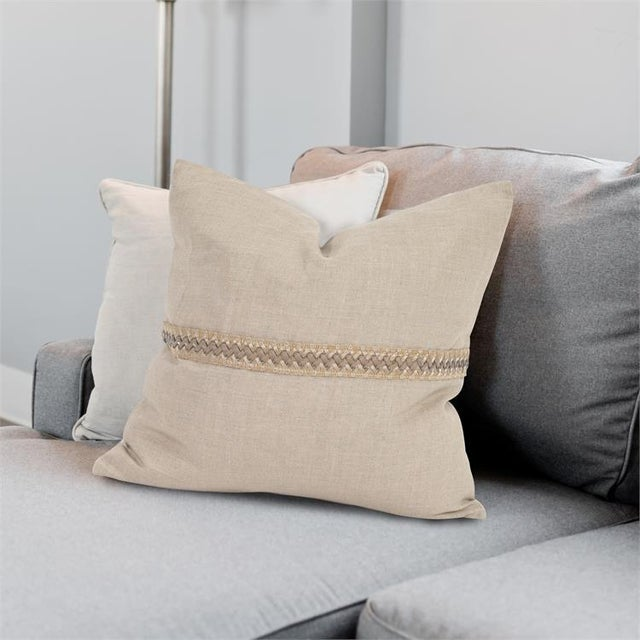 "The Prairie Linen 20"" pillow with deco trim #2-610F Our Linen Slub pillow is part of our Davida Kay designer pillow..."
