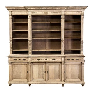 19th Century English Stripped Oak Neoclassical Bookcase
