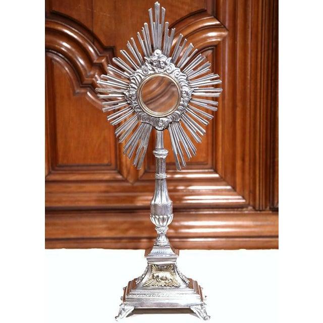 18th Century French Bronze Silvered Catholic Monstrance With Shining Sun - Image 2 of 8