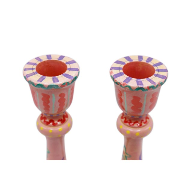Shabby Chic Hand Painted Wooden Candlesticks - a Pair For Sale - Image 3 of 6