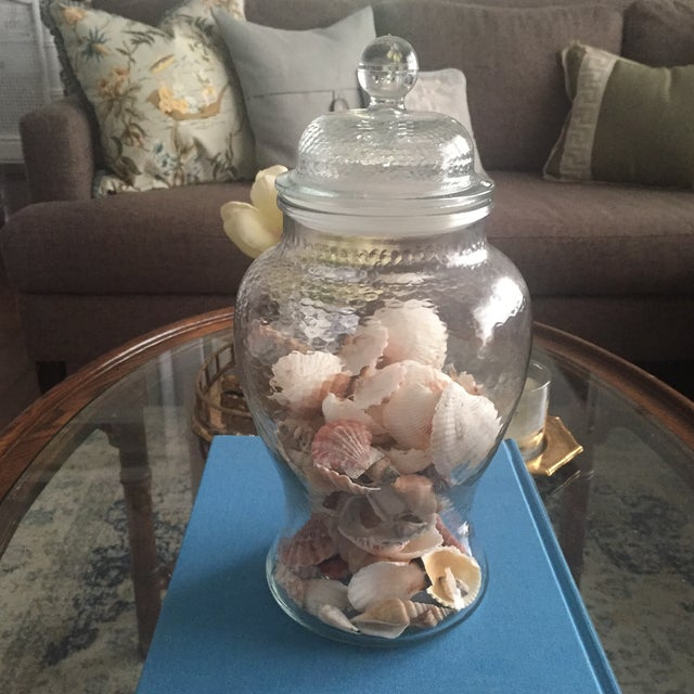 Vintage Glass Ginger Jar Vase With Shells Chairish